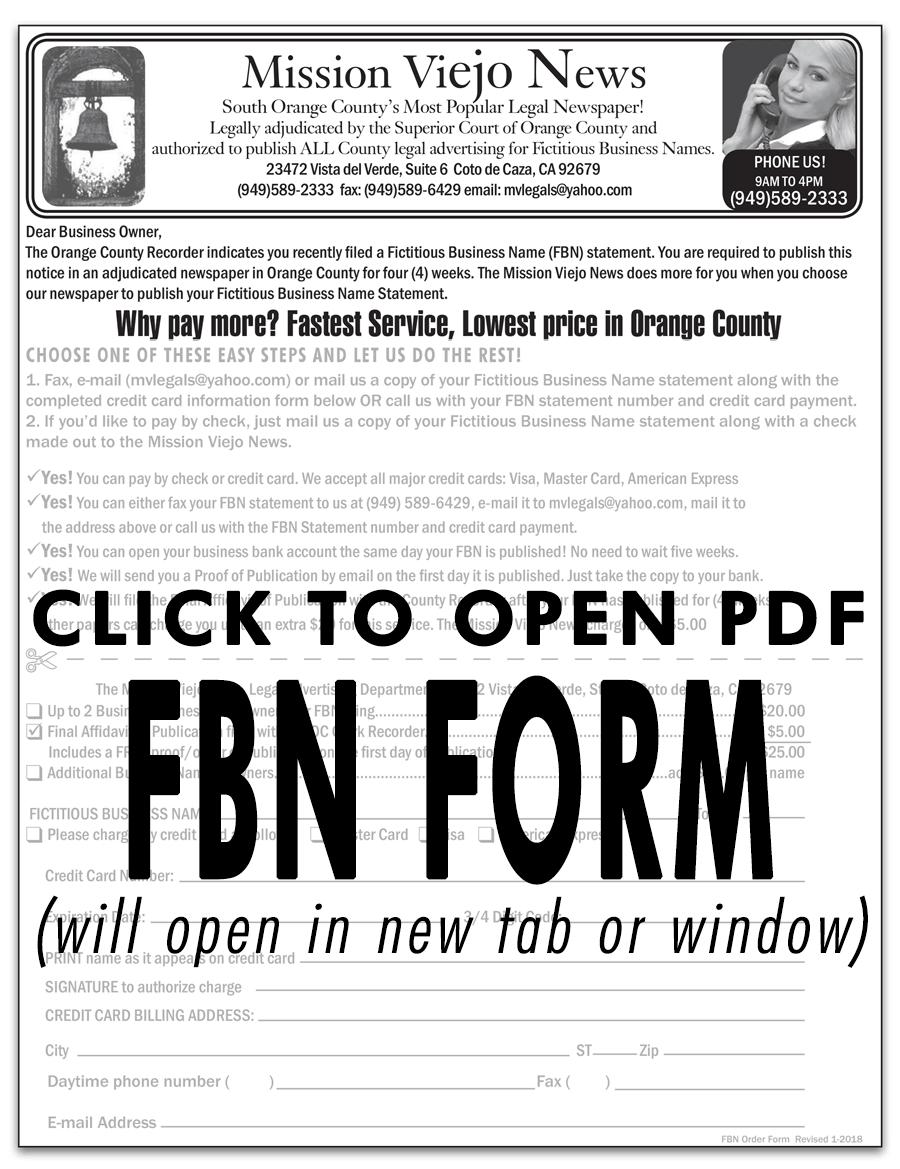 FBN Order Form image